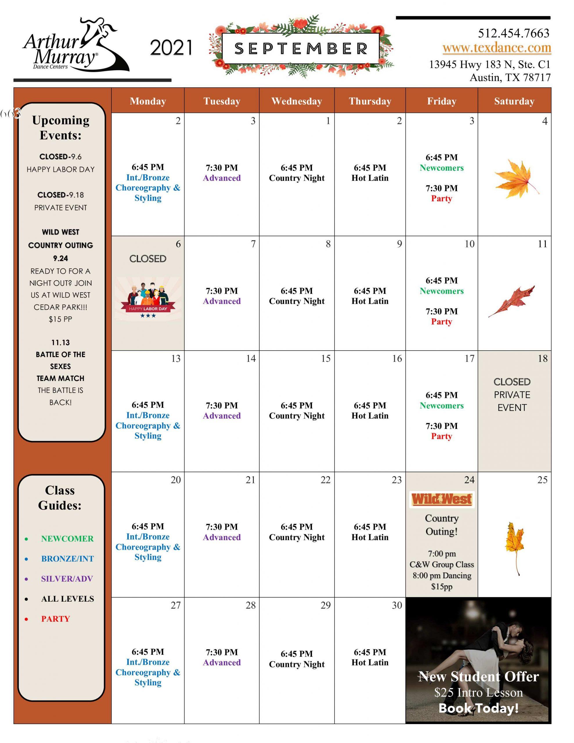Dance Studio Austin September Calendar